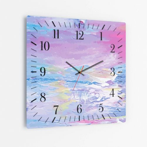 Excess Paint Blue - Square Glass Clock